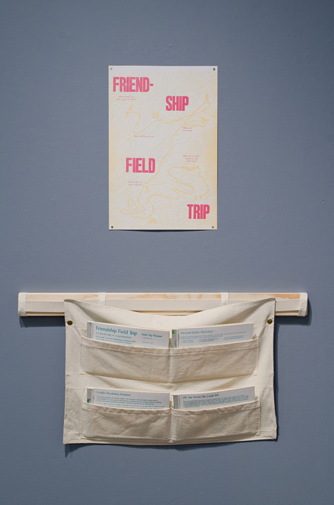 Elizabeth Travelslight and Christine Wong Yap, Friendship Field Trip, three-color letterpress print. Top: assembled poster, 18 x 12 inches. Bottom: Activity in four parts on takeaway pads in printed canvas pouch.
