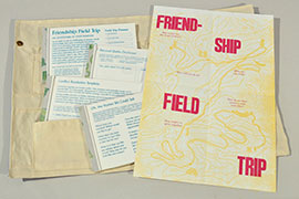Elizabeth Travelslight and Christine Wong Yap, Friendship Field Trip, three-color letterpress print in four parts on takeaway pads in printed canvas pouch.
