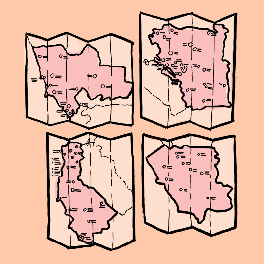 set of 4 maps
