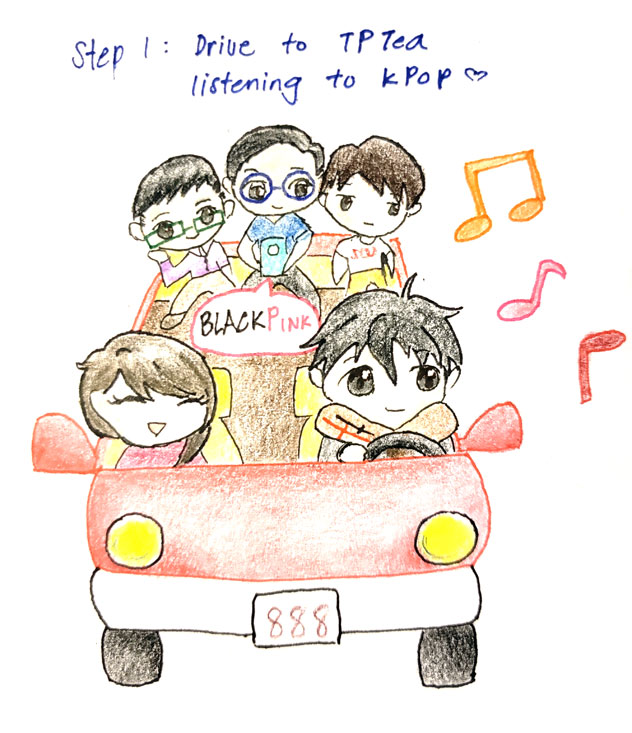 the first in a series of anime-style drawings, apparently colored pencil on paper. step one: Drive to TP Tea while listening to K-pop with a drawing of 5 asians in a car. One in the back seat is playing something from their phone, with a label that says Black Pink