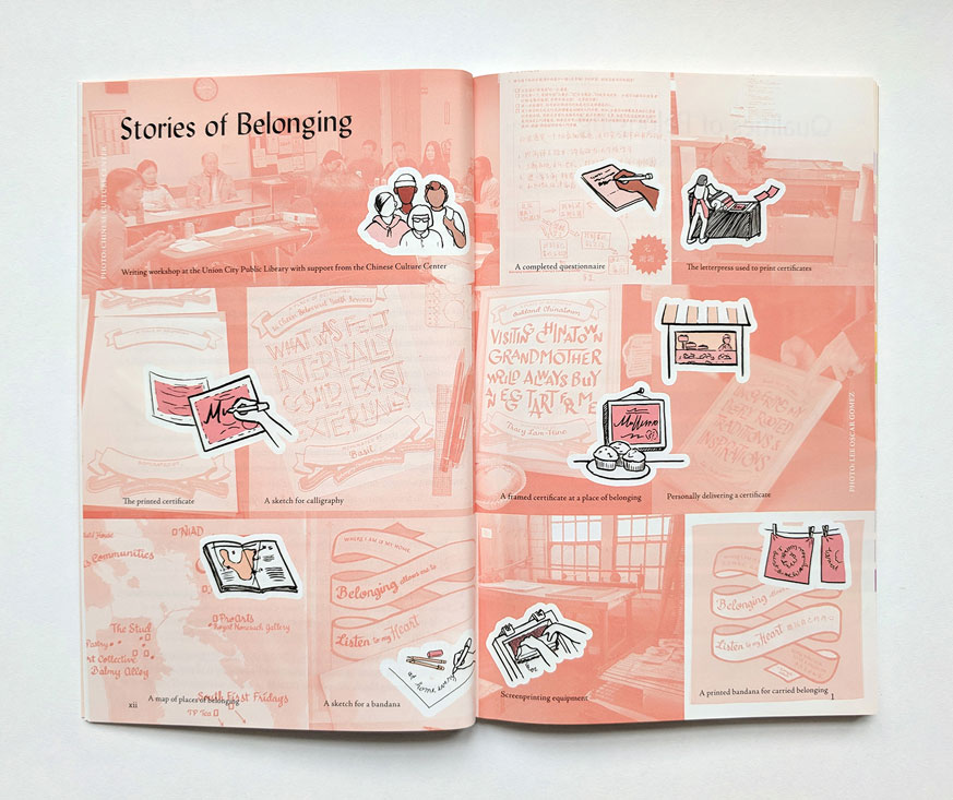 Stories of Bleonging section opener, with a collage of photos from the process, including writing workshops, screenprinting, drawing, letterpress printing, handlettering, installing the certificates, etc.