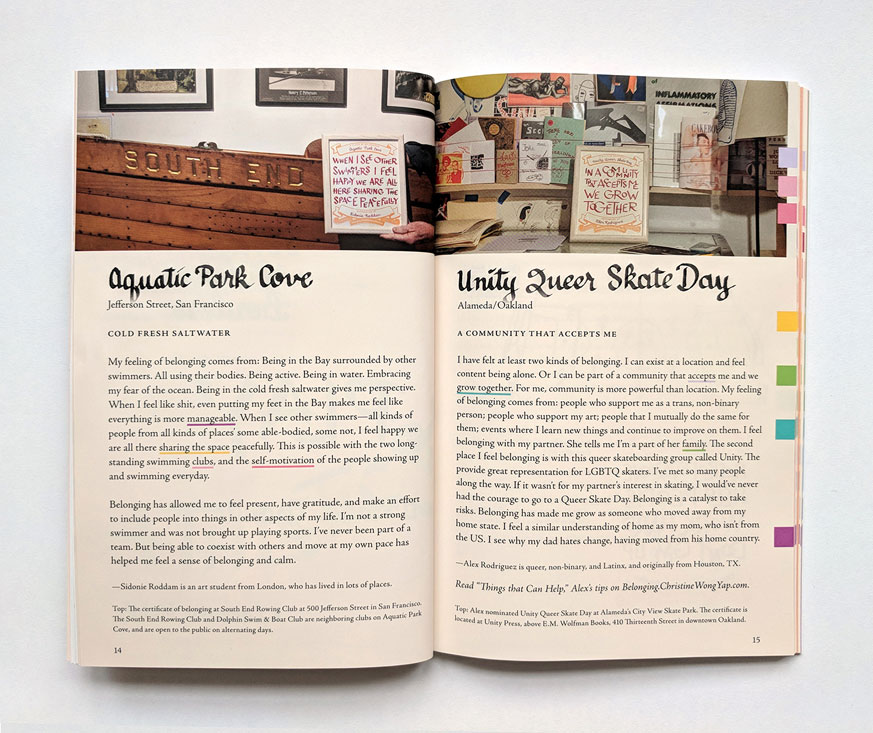 spread of book pages 14-15, of two stories of places of belonging: aquatic park cove and unity queer skate day. both are accompanied by photos of handlettered certificates in their respective locations, such as next to a boat that says rowing club, or in unity press which is a studio with the walls papered with prints and artworks