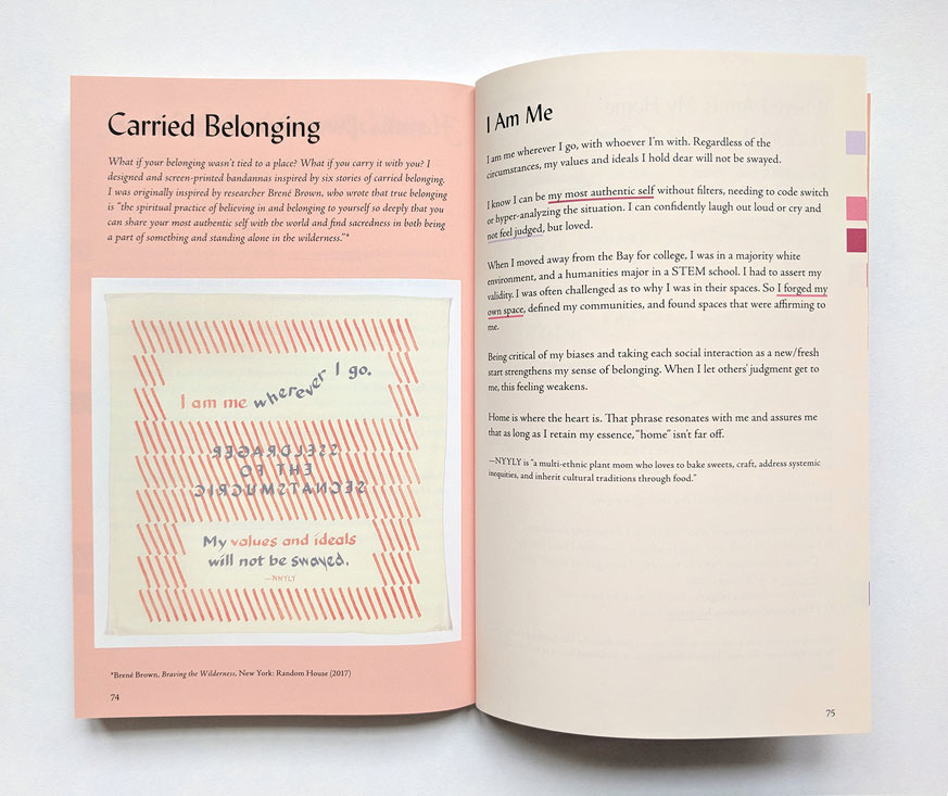 spread of book pages 74-75 for carried belonging, featuring a story of belonging by NYYLY, with a bandana featuring a quote