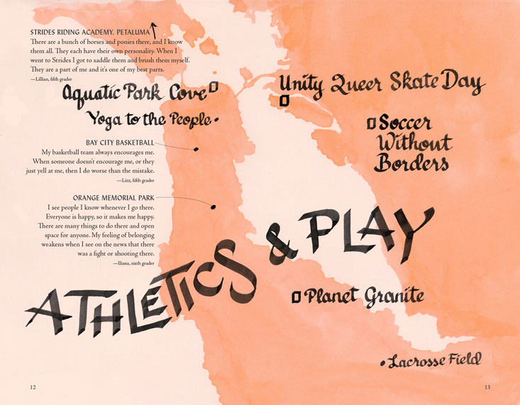 map of locations of belonging in the SF Bay Area related to athletics and play