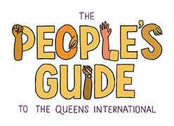 logo of the people's guide, with some of the letters turning into hands writing, a raised fist, etc., in orange, yellow, brown